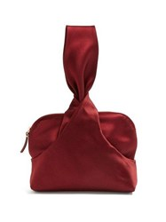 The Row Knotted Silk Satin Wristlet Clutch Burgundy