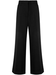 The Row High Waisted Wide Leg Trousers Black