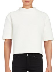 French Connection Cropped Textured Jersey Top Summer White