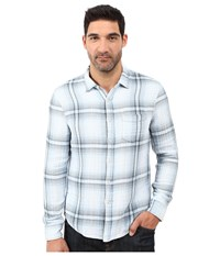 Joe's Jeans Double Woven Slim Fit Top Bleached Indigo Plaid Men's Long Sleeve Pullover White