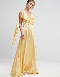 True Violet Ruffle Neck Satin Maxi Dress Washed Yellow