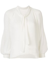 Tomorrowland Pleated Long Sleeved Blouse White