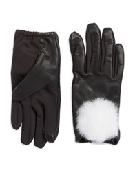 Lord And Taylor Rabbit Fur Trimmed Touchscreen Gloves Black