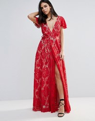 The Jetset Diaries Piazza Lace A Line Maxi Dress Ruby Red