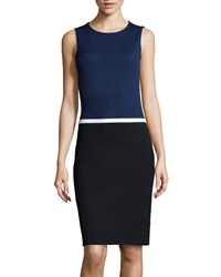 St. John Colorblock Mixed Knit Dress Ink Onyx White