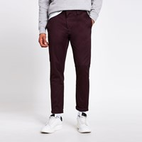 River Island Dark Red Skinny Chino Trousers