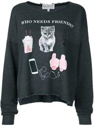Wildfox Couture Who Needs Friends T Shirt Women Cotton Polyester M Grey