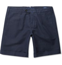 Incotex Slim Fit Linen And Cotton Blend Shorts Navy