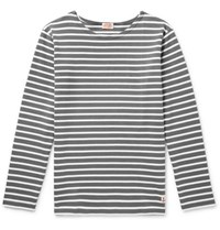 Armor Lux Striped Cotton T Shirt Gray