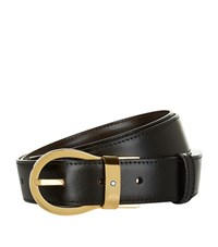 Montblanc Reversible Gold Buckle Belt Unisex Black