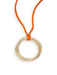 Rj Graziano Suede Ring Pendant Necklace Orange Gold