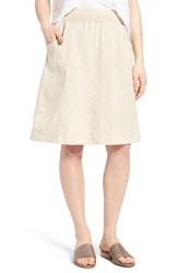 Eileen Fisher Women's Organic Linen Knee Length Skirt Unnatural