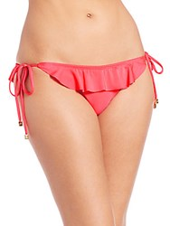 Shoshanna Ruffled String Bikini Bottom Neon Red