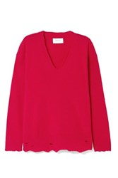 Current Elliott Oversized Distressed Wool And Cashmere Blend Sweater Red