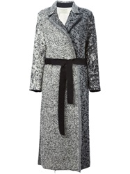 Forte Forte Boucle Belted Long Coat Nude And Neutrals
