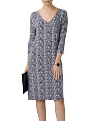 Pure Collection Ditsy Print Dress Navy