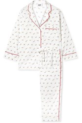 Sleepy Jones Marina Printed Cotton Poplin Pajama Set White