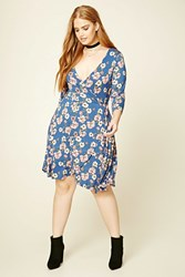 Forever 21 Plus Size Floral Wrap Dress Blue Pink