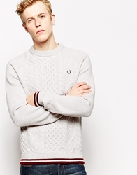 Fred Perry Jumper With Cable Knit Cream