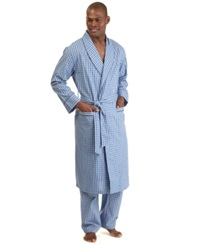 Nautica Men's Woven Plaid Robe Cornflower Blue