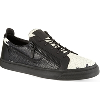 Giuseppe Zanotti Python Print Low Top Trainers Blk White