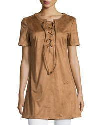 Glamorous Short Sleeve Lace Up Faux Suede Top Tan