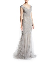 Pamella Roland Cap Sleeve Metallic Floral Brocade Gown With Draped Tulle Overlay Silver