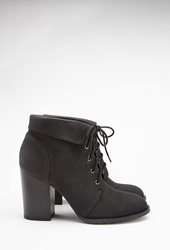Forever 21 Lace Up Booties Black