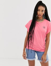 Cheap Monday Screen T Shirt With Tiny Skull Logo Pink