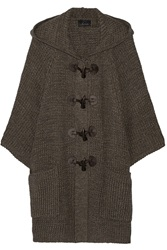Line The Affable Hooded Ribbed Cotton Cardigan Brown