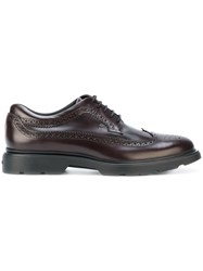 Hogan H304 New Route Brogues Men Leather Rubber 10 Brown