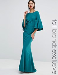 Jarlo Tall Maxi Dress With Bell Sleeve And Button Back Detail Emerald Green