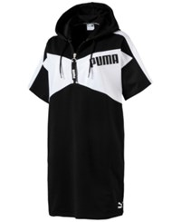Puma Archive Half Zip Relaxed French Terry Hoodie Dress Black