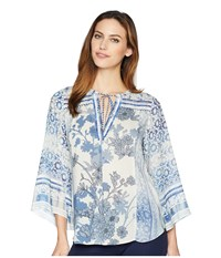 Hale Bob Moroccan Dreams Lightweight Rayon Dot Woven Top Blue Clothing