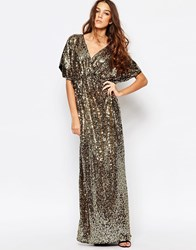 First And I Sequin Kimono Sleeve Maxi Dress Goldsequin