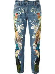 Roberto Cavalli Embroidered Birds Feathers Jeans Blue