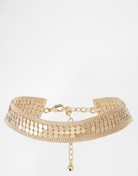 Asos Limited Edition Mesh And Ball Chain Choker Necklace Gold
