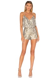 Saylor Shellie Embellished Romper Metallic Bronze