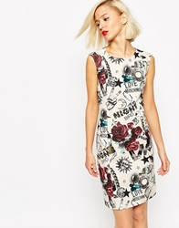 Love Moschino Shift Dress In Tattoo Print Beige