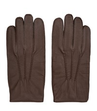 Reiss Glenworth Mens Tumbled Leather Gloves In Brown