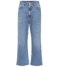 Alexander Mcqueen Cropped Mid Rise Jeans Blue