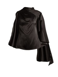 Osman Adena Satin Draped Scarf Top Black