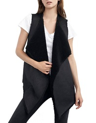 Velvet By Graham And Spencer Faux Shearling Draped Vest Black