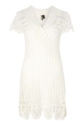 Topshop Hand Crochet Dress Ivory