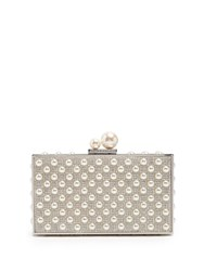 Sophia Webster Clara Faux Pearl Embellished Box Clutch White Silver