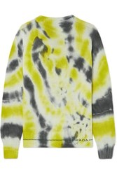 Prada Tie Dyed Wool And Cashmere Blend Sweater Green