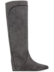 Lanvin Pull On Contrast Panel Boots Grey