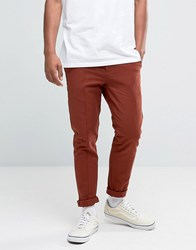 Asos Skinny Jogger With Pintucks In Rust Rust Brown