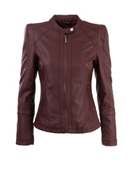 Morgan Biker Style Leather Look Cropped Jacket Red