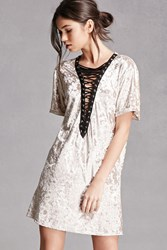 Forever 21 Crushed Velvet Lace Up Dress White Pearl